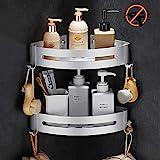 Estantes Ducha, Bogeer Estanteria ducha esquina pared para baño sin Taladro, Pegamento Patentado, Aluminio Estante de baño (Doble capa)
