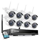 ZOSI Kit de Cámaras Seguridad Vigilancia WiFi Inalámbrico 8CH H.265+ Videograbador NVR + (8) Cámara IP Exterior, Visión Nocturna, Alarma de Movimiento, 3TB Disco Duro