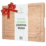 Oliver's Kitchen - Tabla de Cortar Premium Hecha de Bambú 100% Orgánico - Tabla de Cocina de Madera Extragrande - Fuerte, Duradera y Resistente - Fácil de Limpiar con Surco Antiderrames