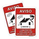 2 uds Señal de Videovigilancia Señal de Advertencia Señal de Aluminio para Exteriores Señales Conectadas de Alarma