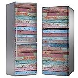 MEGADECOR Vinilo Adhesivo Decorativo para Nevera con Efecto Tablas de Madera Viejas de Colores Gastados, Varias Medidas (200 cm x 70 cm)