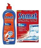 Somat Juego de abrillantador para lavavajillas, 750 ml y sal especial 1,2 kg