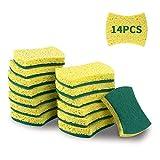 ESAFIO Esponjas de Limpieza,14Pcs Esponja de Celulosa,Esponjas de Lavavajillas Multifuncionales,Esponja de Pulpa de Madera Ecológica para Garaje, Cocina, Baño