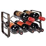 mDesign Juego de 2 botelleros apilables – Estante para vino de metal con capacidad para 3 botellas – Mueble vinoteca manejable para botellas de vino u otras bebidas – color bronce