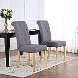Juego de 2 sillas de comedor, tela de lino, respaldo alto, color gris oscuro