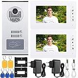 Pangding 𝐂𝐡𝐫𝐢𝐬𝐭𝐦𝐚𝐬 𝐂𝐚𝐫𝐧𝐢𝒗𝐚𝐥 Videoportero Timbre de la Puerta, 7 Pulgadas HD Entrada de intercomunicación IR Timbre de la Puerta Una cámara con Dos monitores Kit de Sistema para Ofici