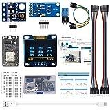 ESP8266 Kit de estación meteorológica con DHT11 Humedad de Temperatura BMP180 Presión atmosférica BH1750FVI Sensor de luz 0.96'OLED Amarillo Azul Pantalla para Arduino IDE Starter(Tutorial inglés)