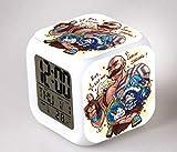 Superd Mesita de Noche para niños Reloj Despertador Digital LED luz de Noche Colorida Estado de ánimo Alarma Reloj Cuadrado Mudo con Puerto de Carga USB Viaje pequeño Reloj Despertador Regalo Q5699