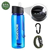 SGODDE Botella de Agua con Filtro, 2 Etapas Filtro Personal Integrado Paja para IR de Excursión Camping y Viajes - Supervivencia o Filtro de Emergencia- Botella de Agua Libre de BPA