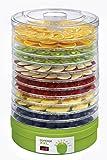 Concept Electrodomésticos SO1025 Secador de frutas sal 12, bandejas de abastecimiento, temperatura ajustable de 35-70 grados, 245 W, 46 Decibelios, Plástico, Verde y blanco