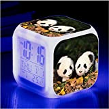 HHIAK666 Animal World Pet Panda 7 Color Ing-Change Reloj De Alarma Creativa, Led Alarma Electrónica De Regalo 12