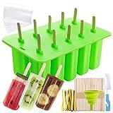 Moldes para Helados de Silicona, Molde Reutilizable para Hacer Polos y Helados DIY, 10 Rejillas con Tapa, con 50 Palitos de Madera + 50 Bolsas + Cepillo + Embudo, Verde
