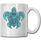 Taza de cerámica de la tortuga de mar hawaiana Taza tazas de café personalizadas Taza de viaje de cerámica Taza de té 330ml (Blanco)
