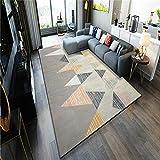 TANGYUAN Alfombra De Salón De Pelo Corto Diseño para - Accesorios para el hogar Alfombra triángulo Costura Multicolor Creativo contemporáneo geométrico Esponjoso antideslizante-140x 200 cm