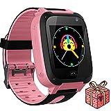 Jslai Niños Smartwatch Relojes,LBS Tracker Inteligente Relojes Telefono de SOS Alarma Cámara móvil Mejor Regalo para niños de 3-12 años niños Regalo de cumpleaños (Rosa)