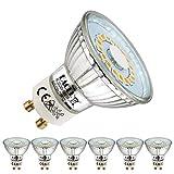 EACLL Bombillas LED GU10 2700K Blanco Cálido 5W Fuente de Luz 425 Lúmenes Equivalente 50W Halógena. AC 230V Sin Parpadeo Focos, 120 ° Spotlight, Blanca Cálida Lámpara Reflectoras, 6 Pack