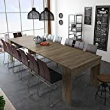 SelectionHome - Mesa de Comedor Consola Extensible hasta 301 cm, Acabado Roble Oscuro, Medidas Cerrada: 90x49x75 cm de Alto