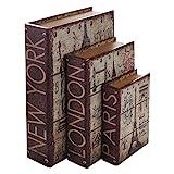 HMF 80961 Libro Segura Ciudades Conjunto de 3, Aspecto Antiguo, Caja de Caudales Camuflada, 32,5 x 23,5 x 7,5 cm