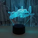 New Airplane 3d colorful remote control 3d table lamps for life 7 colors Changing kids room desk lamp table lamp 3d Led night light
