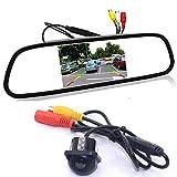 GOFORJUMP Cámara de Respaldo para el automóvil con Sistema de cámara de estacionamiento de la cámara de estacionamiento de cámara de Marcha atrás del Monitor retrovisor TFT LCD de 4.3'