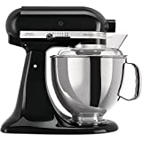 KitchenAid Artisan - Robot de cocina (4,8 L, Negro, palanca, 220 RPM, 1,45 m, Acero inoxidable)