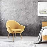 Mc Haus NAVIAN - Sillón Nórdico Escandinavo de color Mostaza, butaca comedor salón dormitorio, sillón acolchado con Reposabrazos y patas de madera 47x74x76cm