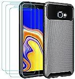 ivoler Funda para Samsung Galaxy J4+ 2018 / J4 Plus 2018 + 3 Unidades Cristal Templado, Fibra de Carbono Negro TPU Suave de Silicona [Carcasa + Vidrio Templado] Caso y Protector de Pantalla