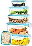 KICHLY - Recipientes de vidrio para comida - 12 piezas (6 envases, 6 tapas de cierre) - Apto para lavavajillas, microondas y congelador - a prueba de fugas y sin BPA - Aprobado por la FDA y el FSC
