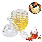 LEAMALLS Dispensador de Miel Almacenaje Botella para Jarabe Salsas Recipiente Botes para Miel Cocina Hornear (265 ml)
