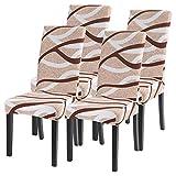 Fundas de Silla de Comedor Elásticas y Modernas, Extraíbles y Lavables, Fundas de Licra para sillas Altas 4 Piezas Fundas Protectoras para sillas(Pack de 4)