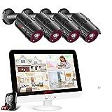 Sistema de Cámara de Seguridad ANRAN 8CH 1080P, 1TB HDD 13 Pulgadas Monitor de Pantalla LCD Incorporado, Sistema de Cámaras CCTV al Aire Libre 4X 2.0MP, Plug and Play, Vista Remota