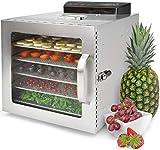 Deshidratador Alimentos Acero Inoxidable • 6 Bandejas • Temporizador 24 Horas • Temperatura: 30-90ºC • 400 W • LED Panel de control • Deshidratador de frutas y verduras VITA5 Nobel S
