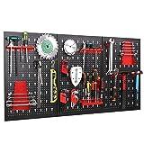 FIXKIT Panel para Herramientas de Metal 17 Piezas, 120 x 60 cm, Organizador y Soporte para Pared de Multiusos, Tablero Perforado