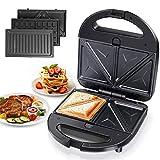 Aigostar Robin 30OGQ - Sandwichera 3 en 1: grill, gofres y sandwichera. 750W, placas antiadherentes extraíbles, termostato hasta 215ºC, almacenamiento vertical y asa de toque frío.