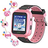 YENISEY Rastreador de GPS para niños Smart Watch a Prueba de Agua para niños Smartwatches IP67 A Prueba de Agua 1.4' Llamada de Pantalla Chat de Voz Podómetro Reloj Despertador para niñas