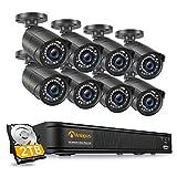 Anlapus 1080P Kit de Cámaras Seguridad PoE 8CH H.265+ Videograbador con 2TB Disco Duro 8 Cámaras de Vigilancia Exterior, 30M Visión Nocturna, Alarma de Movimiento
