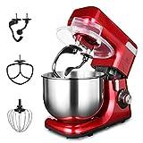 MURENKING 1200W MK55 Batidoras Amasadoras Doble Ganchos de Masa Capacidad de 5.5L 8 Regulación de Velocidad Continua,Cabezal de Inclinación Automático Robot de Cocina con 5 Accesorios (Coca-Cola Roja)