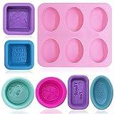 FineGood Moldes ovales de silicona de 13 piezas para la fabricación de jabón, moldes de jabón de vela caseros Molde para hornear magdalenas para artesanía de bricolaje