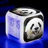 HHCYY Animal Mascota Panda Niños Reloj Despertador Wake Up Light Despertador Luz Reloj Despertador Cubo 7 Cambio De Color Reloj Digital Alarm Clock(A117)