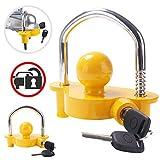 Trailer Ball Lock Hitch Coupler Towing Lock Ajustable Fácil instalación Resistente Acero y aleación de Aluminio Base para Remolque de caravanas Seguridad con 2 Llaves Amarillo