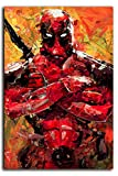 Megiri Print Art Decor Superhéroe Deadpool pintura abstracta pared decoración de pared para dormitorio con diseño de flores, lona, Sin marco., 20'x28'