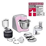 Bosch CreationLine MUM58K20 - Robot de cocina, 1000 W, recipiente de 3.9 litros, color rosa y plateado