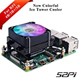 GeeekPi Raspberry Pi Enfriador de CPU de Perfil bajo, Raspberry Pi Horizontal Ice, Ventilador de refrigeración RGB con disipador de Calor Raspberry Pi 4B & Raspberry Pi 3B+ y Raspberry Pi 3B(Negro)