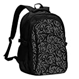XCNGG Mochila USB con múltiples bolsillos, mochila informal, mochila escolar Laptop Backpacks Tactical Vintage Lace Ornament, Elegant Tulle Texture, Vector Seamless Office & School Supplies with USB D