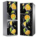 MEGADECOR Vinilo Adhesivo Decorativo para Nevera con Diseño Naranjas sobre Fondo Negro, Varias Medidas (185cm x 60cm)