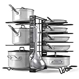 Organizador de ollas y sartenes, ajustable, incluye 8 estantes y 6 ganchos, puedes disponer los divisores de 3 formas diferentes