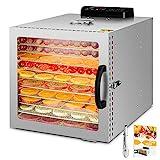 Kwasyo Deshidratador de Alimentos Acero Inoxidable, con Temporizador, Pantalla LCD, Temperatura Regulable Deshidratador de Frutas, Vegetales, Carne y Hierbas (10 Bandejas)
