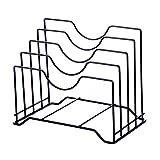 Estante de soporte de cacerola de cocina, estante de almacenamiento de pie, cuchara de acero para cocinar espátula, soporte de placas de tabla de cortar (negro)