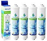4x AquaHouse AH-UIF Filtro universal de agua para nevera compatible con Samsung LG Daewoo Rangemaster Beko Haier etc Nevera Congelador