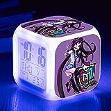 Superd Mesita de Noche para niños Reloj Despertador Digital LED luz de Noche Colorida Estado de ánimo Alarma Reloj Cuadrado Mudo con Puerto de Carga USB Viaje pequeño Reloj Despertador Regalo Q5210